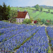 English Cottages Prints - Lavender Hill Print by L Diane Johnson