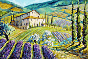 Poppies Artwork Framed Prints - Lavender Hills Tuscany by Prankearts Fine Arts Framed Print by Richard T Pranke