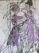 Abstracted Paintings - Lavender Ladies by Carole Johnson