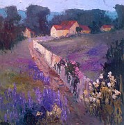Country Lanes Prints - Lavender Lane Print by Mary Scott