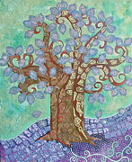 Tree Roots Mixed Media Prints - LavendeR LeaFD TRee on Green SKy Print by Teresa Grace Mock