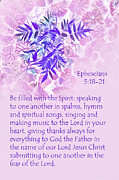 Inverse Prints - Lavender Leaves Eph. 5v10-11 Print by Linda Phelps