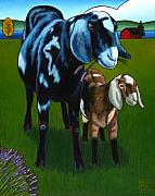 Goat Paintings - Lavender Lunch on Whidbey by Stacey Neumiller