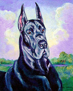 Great Dane Portrait Framed Prints - Lavender Skies - Great Dane Framed Print by Lyn Cook