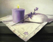 Still Life Prints Paintings - Lavender Sprig by Linda Jacobus