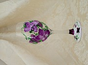 Painted Wine Glass Glass Art Originals - Lavender Spring Flowers In Bloom by Leah Jones