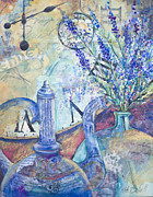 Oriental Teapot Paintings - Lavender Tea by Kate Bedell