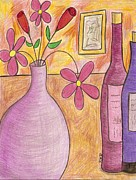 Wine Drawings - Lavender Vase by Ray Ratzlaff