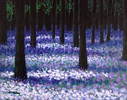 Impressionism Acrylic Prints Paintings - Lavender Woodland by John  Nolan