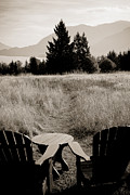 Grassy Field Posters - Lawn Chair View of Field Poster by Darcy Michaelchuk