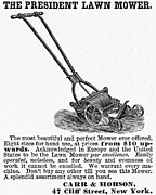 Mower Prints - Lawn Mower Ad, 1878 Print by Granger