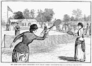 Lawn Tennis Framed Prints - Lawn Tennis, 1883 Framed Print by Granger