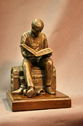 Bible Sculptures - Lay uo your treasures in heaven bronze statue of Joseph Smith on trunk by Stan Watts by Stan Watts