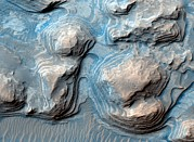 Arabia Photos - Layered Martian Terrain, Satellite Image by Nasajpluniversity Of Arizona