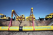 Lithuania Framed Prints - Laying A Gas Pipeline Framed Print by Ria Novosti