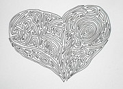 Pen And Ink Drawing Painting Metal Prints - Laying Your Heart On A Line  Metal Print by Vicki  Housel