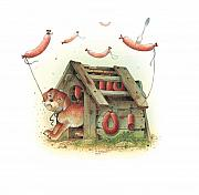 Dog Drawings Prints - Lazinessland01 Print by Kestutis Kasparavicius