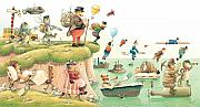 Landscapes Drawings Metal Prints - Lazinessland02 Metal Print by Kestutis Kasparavicius