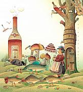 Food And Beverage Drawings Prints - Lazinessland03 Print by Kestutis Kasparavicius