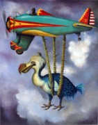 Airplane Posters - Lazy Bird Poster by Leah Saulnier The Painting Maniac