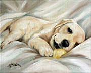 Retrievers Paintings - Lazy Bones by Mary Sparrow Smith