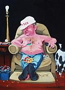 Baseball Art Painting Posters - Lazy Boy Poster by Susan Roberts