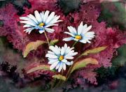 Stem Painting Prints - Lazy Daisies Print by Sam Sidders