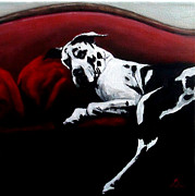 Great Dane Oil Painting Acrylic Prints - Lazy Dane Acrylic Print by Elizabeth Barrett