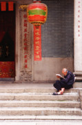 Stone Steps Posters - Lazy Day In Hong Kong Poster by Sandra Bronstein