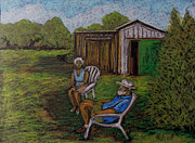 People Pastels Posters - Lazy Day on the Farm Poster by Reb Frost