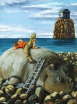 Surrealism Tapestries Textiles Prints - Lazy Days - surreal fantasy Print by Linda Apple