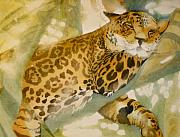 Jaguar Paintings - Lazy Jaguar by Laura Yamada