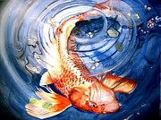 Koi Painting Posters - Lazy Koi Poster by Paul Gilbert Baswell