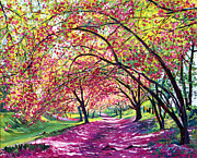 Cherry Blossom Painting Prints - Lazy on a Sunday Central Park Print by David Lloyd Glover