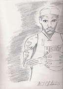 Player Drawings Posters - Lbj Poster by Michael Chatman