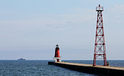 J.p. Prints - LCS3 USS Fort Worth Beyond the Menominee Lighthouse Print by Mark J Seefeldt
