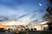 Lds Art - LDS Montreal Temple at Twilight by Laurent Lucuix