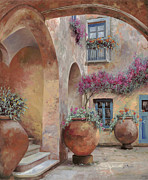 Italy Painting Framed Prints - Le Arcate In Cortile Framed Print by Guido Borelli