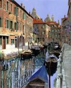 Boats. Water Framed Prints - Le Barche Sul Canale Framed Print by Guido Borelli