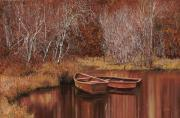 River Tapestries Textiles Originals - Le Barche Sullo Stagno by Guido Borelli