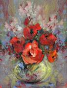 Gouache Paintings - Le Bouquet de Valentine by Miki De Goodaboom