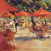 Cafe Umbrellas Posters - Le Cafe du Jardin  Poster by Peter Graham