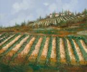Impressionistic Wine Framed Prints - Le Case Nella Vigna Framed Print by Guido Borelli