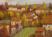 Landscape Paintings - Le Case Sul Poggio by Guido Borelli