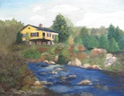 Fishing Creek Pastels Posters - Le Chalet Jaune Poster by Diane Larcheveque
