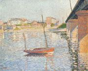 Bay Bridge Painting Prints - Le Clipper - Asnieres Print by Paul Signac