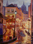 Rainy Night Paintings - Le Consulate Montmartre by David Lloyd Glover