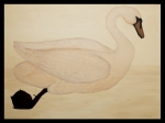 Water Fowl Posters - Le Cygne Poster by Carrie Jackson
