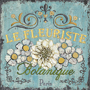 Vintage Blue Framed Prints - Le Fleuriste de Bontanique Framed Print by Debbie DeWitt