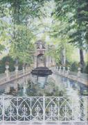 Luxembourg Gardens Prints - Le Fontaine des Medicis  Paris Print by Anda Kett